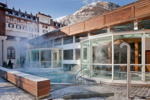 Outdoor pool of the Mont Cervin Palace in Zermatt