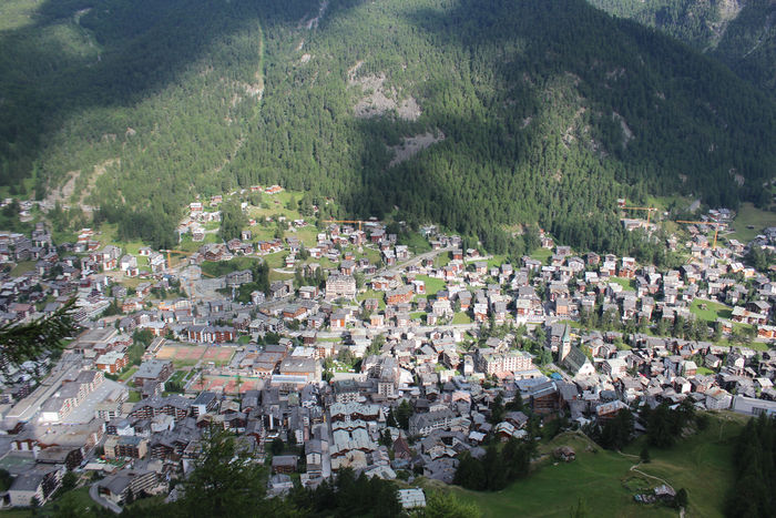 Klettersteig Schweifinen in Zermatt - Blick auf Zermatt von Route A aus