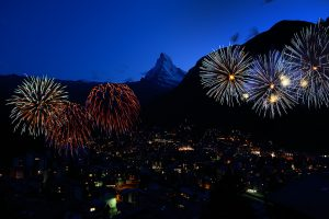 Swiss National Holiday in Zermatt - Fireworks