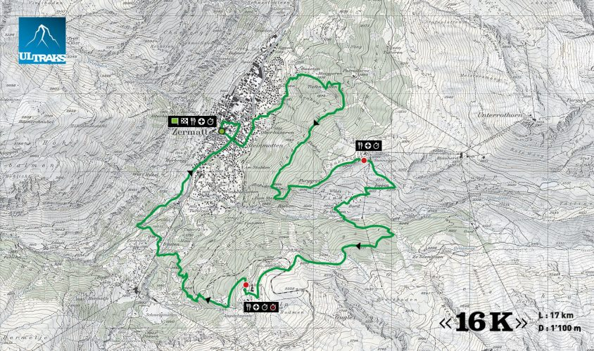 Ultraks marathon Zermatt - route overview
