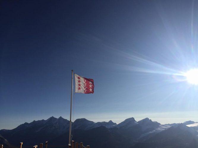 Beautiful morning sunrise in Zermatt at the Hörnlihütte