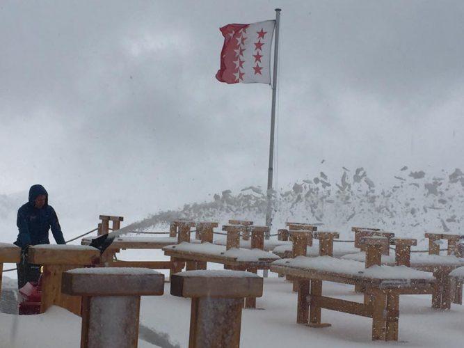 Snow storm at mountain hut Hörnlihütte in Zermatt
