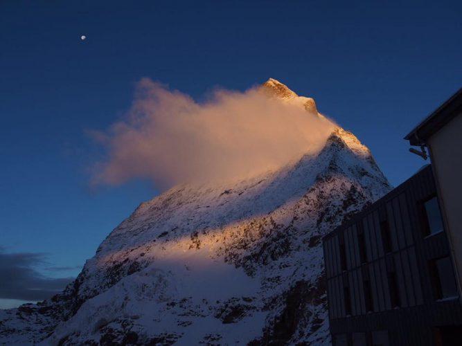 Sunrise at Matterhorns Hörnlihütte in Zermatt
