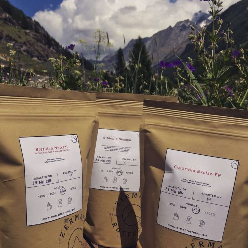 fair trade coffee in Zermatt at the coffee roasting house