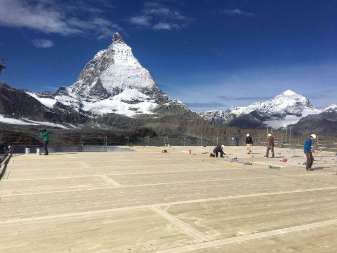 Blick auf den Matterhorn, Bergbahn Baustelle
