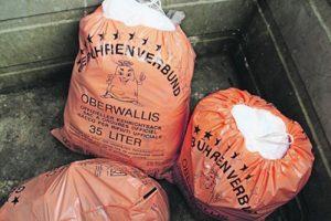 Müllsäcke, Mülltrennung in Zermatt