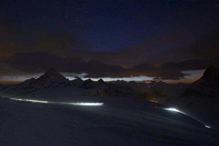 Patrouille des Glaciers Training in der Nacht