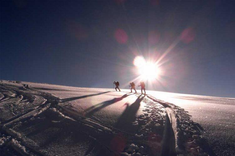 Wanderung im Sonnenaufgang Patrouille des Glaciers