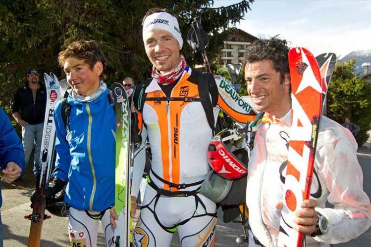Skitourenrennen Männer Team am Ziel