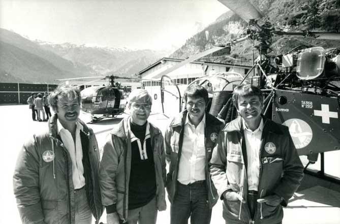 Beat H Perren (2. vl) gründete 1968 die Air Zermatt AG