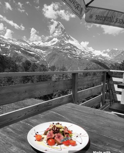 Alphitta Tagliata plate and the Matterhorn in the background