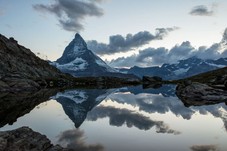Reflection of the Matterhorn in the lake Riffelsee.