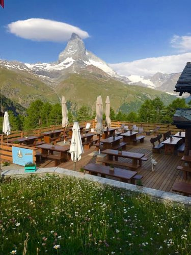 Terrace of the Alphitta with view of the Matterhorn