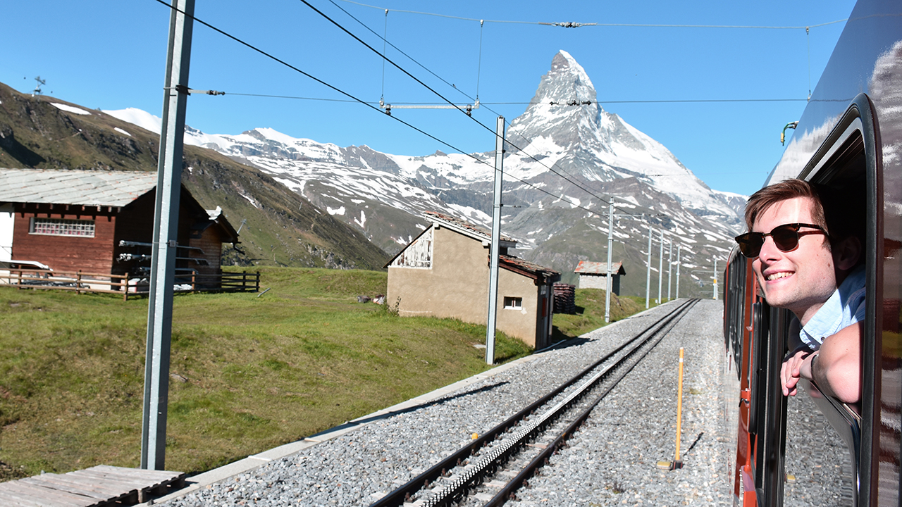 Railway and view of the Matterhorn