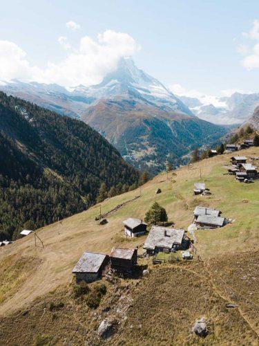 Village with view on Matterhorn